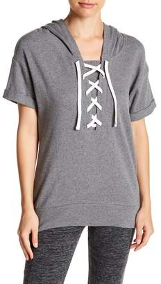 Andrew Marc Short Sleeve Front Lace-Up Hooded Pullover