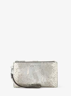 cd997a029677 inexpensive michael kors jet set travel wallet 4e86a b4f3d; low price at michael  kors michael michael kors adele metallic snake embossed leather smartphone  ...