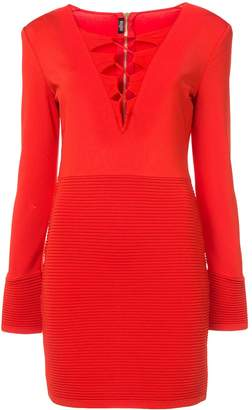 Balmain ribbed panel dress red