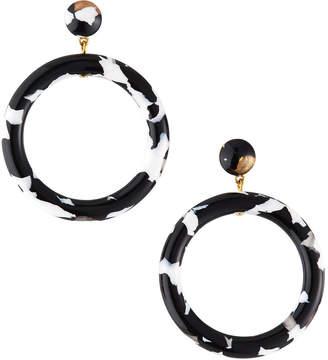 Lele Sadoughi Marquis Front-Hoop Earrings Black\/White
