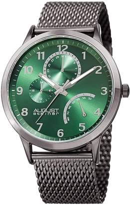 August Steiner Men's Quartz Stainless Steel Casual Watch, Color:Grey (Model: AS8230GN)