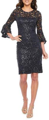 BLU SAGE Blu Sage 3/4 Bell Sleeve Sequin Lace Sheath Dress