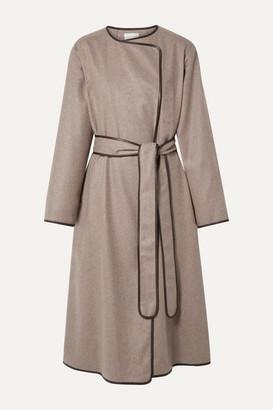 The Row Helga Leather-trimmed Cashmere Coat - Mushroom