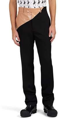 Calvin Klein Men's Coated-Cotton-Waist Wool Slim Trousers