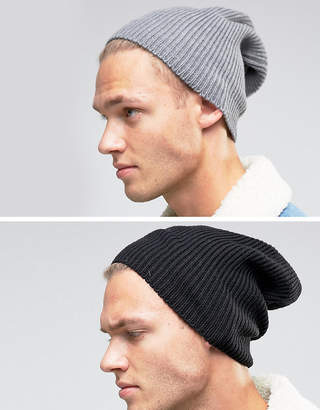 Asos Design DESIGN slouchy beanie 2 pack in black and grey save