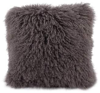 A&B Home Mongolian Lamb Fur Pillow, Gray