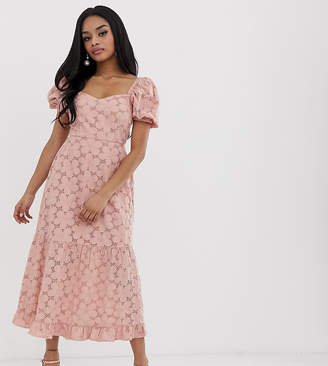 Asos DESIGN Petite broderie maxi dress with sweetheart neckline and puff sleeves