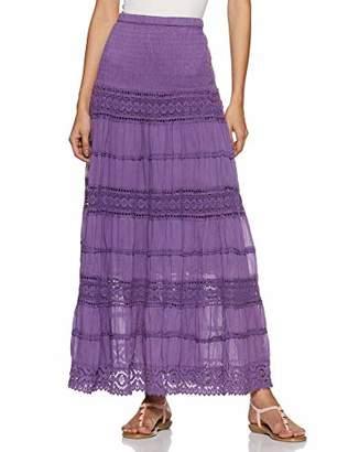 ANGLE THREADS Womens Cotten Elastic Waist 7 Tire Long Maxi Skirt dress