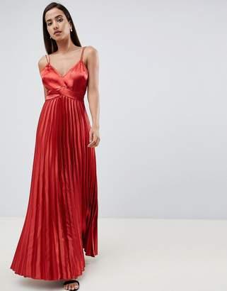 Asos Design DESIGN cami pleated satin maxi dress