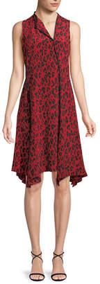 Diane von Furstenberg Sleeveless Bias-Cut Floral-Print Silk Dress