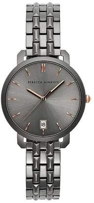 Rebecca Minkoff Billie Grey Ion Plated Tone Bracelet Watch, 34Mm