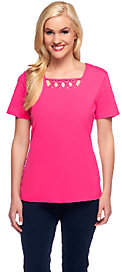 Denim & Co. Perfect Jersey Short Sleeve T-shirtw/ Lattice Neck