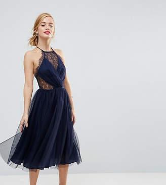 Asos Lace Paneled Tulle Mesh Midi Dress