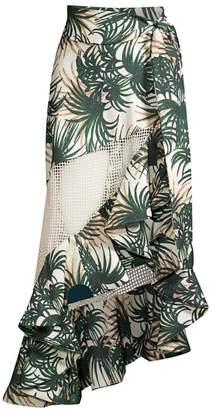 PatBO Palm Print Mesh Wrap Skirt