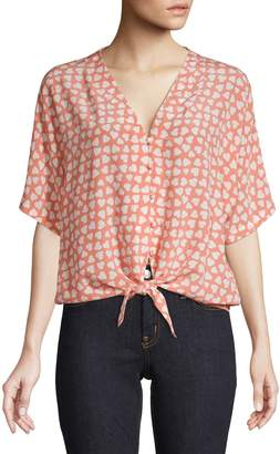 Rails Heart Print Tie Hem Blouse