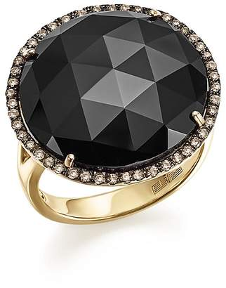 Bloomingdale's Onyx Statement Ring with White and Brown Diamonds in 14K Yellow Gold - 100% Exclusive