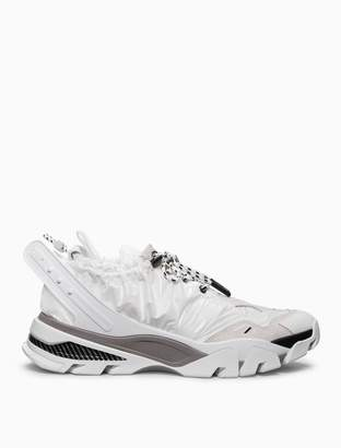 Calvin Klein drawcord athletic sneaker in shiny nylon + nappa leather