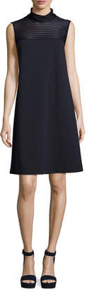 Lafayette 148 New York Mock-Neck Dress w/ Mesh-Stripe Yoke, Dark Blue