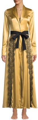 La Costa Del Algodon Anthea Lace-Trim Satin Long Robe