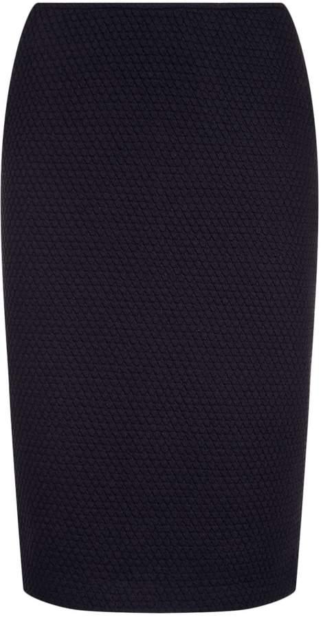 Armani Collezioni Waffle Textured Pencil Skirt, Navy, UK 14
