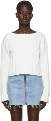 Alexander Wang White Raw Edge Off-the-Shoulder Sweater