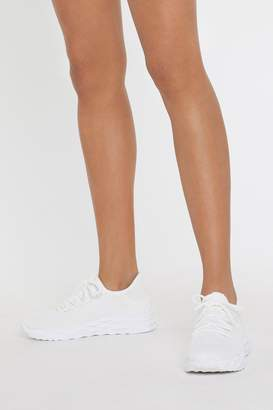 Nasty Gal Womens Crystal Maze Sole Knit Trainers - White - 3