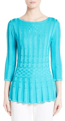 Women's St. John Collection Checkered Knit Top $495 thestylecure.com