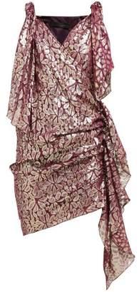 Romance Was Born Disco Paisley Fil Coupe Gathered Silk Dress - Womens - Burgundy Multi