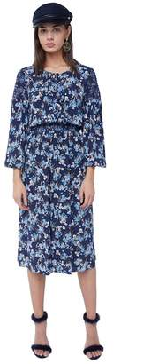 Juicy Couture Floral Bouquet Silk Midi Dress