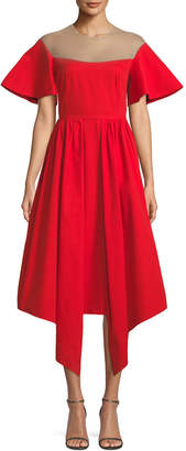 DELPOZO Flared-Sleeve Tulle-Yoke Fit-and-Flare Cotton Cocktail Dress