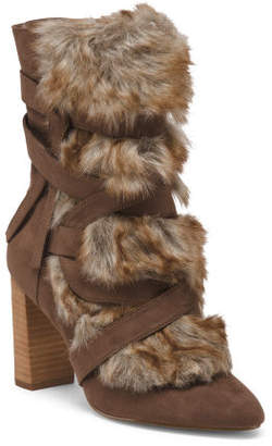 Faux Fur Stacked Heel Booties