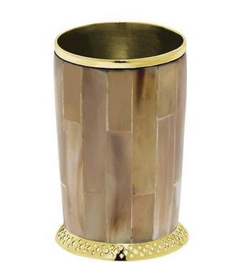 Mela Artisans Monarch Cylinder Vase In Light Horn & Brass