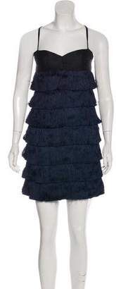 Zac Posen Silk Tiered Fringe Mini Dress