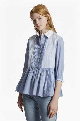 French Connection Nuru Schiffley Striped Peplum Shirt