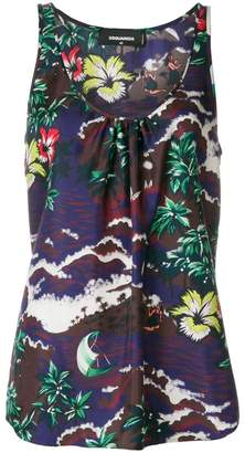 DSQUARED2 Aloha print tank top