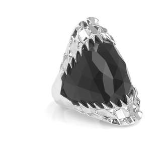 Kasun - Black Vampire Bite Ring Silver