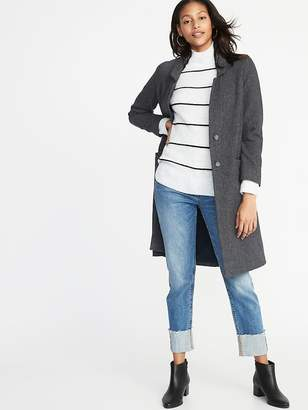 Old Navy Herringbone Tweed Long-Line Coat for Women