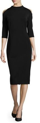 Lafayette 148 New York Mock-Neck Cold-Shoulder Sheath Dress, Black $698 thestylecure.com