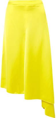 MSGM Asymmetric Hammered-satin Midi Skirt - Chartreuse
