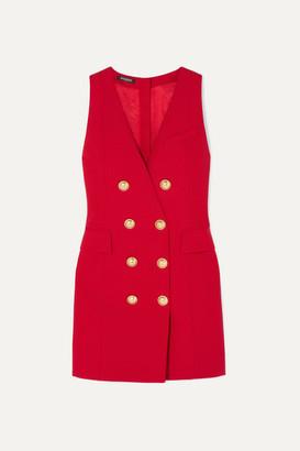 Balmain Button-embellished Wool-twill Mini Dress - Red