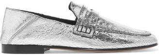 Isabel Marant Fezzy Metallic Cracked-leather Collapsible-heel Loafers - Silver