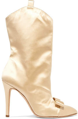 BEIGE Alessandra Rich - Bow-embellished Satin Ankle Boots