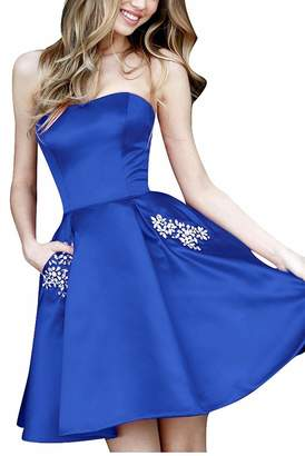 a534841dae3 Beilite Strapless Homecoming Dress Short Crystals Prom Dress Bridesmaid Dress  with Pocket Purple