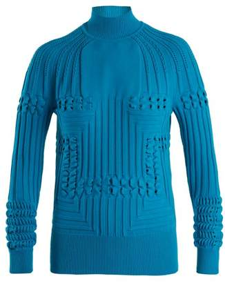 Mary Katrantzou Hardy High Neck Panelled Ribbed Knit Sweater - Womens - Blue