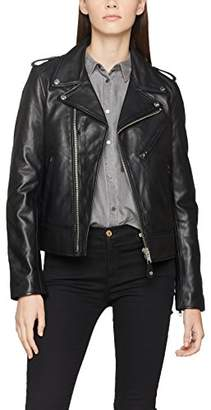Schott NYC Women's Perfecto Biker Jacket Without Belt Leather Long Sleeve Jacket,Large