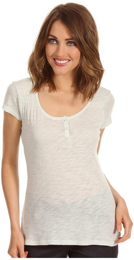 Calvin Klein Jeans Solid S/S Smocked Shoulder Henley (Glacee Mint) - Apparel
