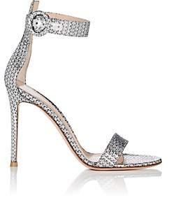 Gianvito Rossi Women's Portofino Metallic Ankle-Strap Sandals - Silver
