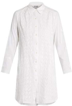 Juliet Dunn Floral-embroidered cotton shirtdress