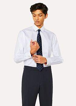 Men's Classic-Fit White Twill-Stripe Shirt With 'Artist Stripe' Cuff Lining