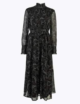 Marks and Spencer Swirl Print Belted Relaxed Midi Dress